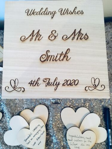 Personalised Wooden Rustic Alternative Heart Wish Box Wedding Guest Book