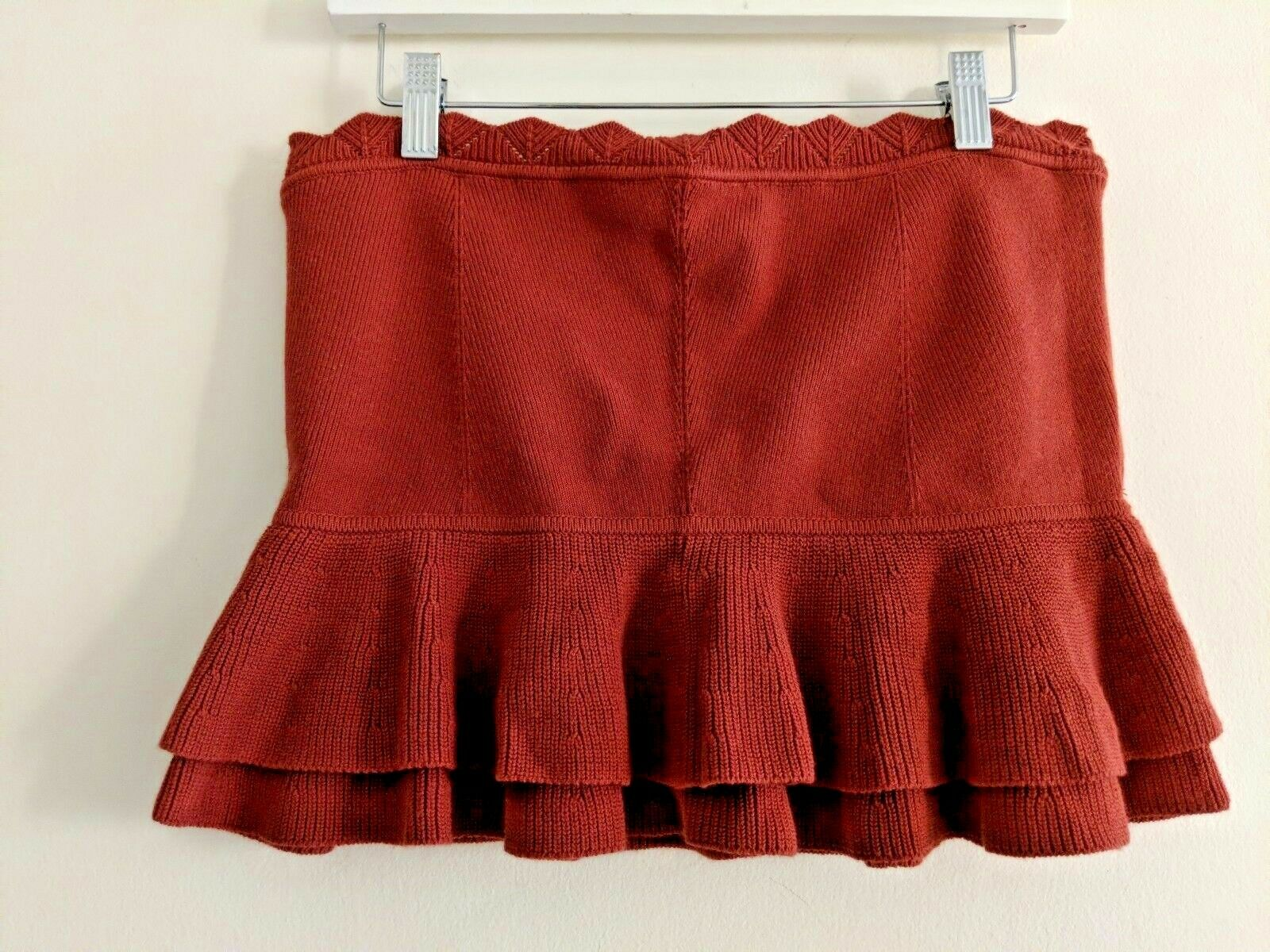 Club Monaco Knit Tube Top Ruffle Sz L burnt Orange NWT