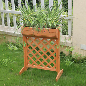 Image Is Loading Outdoor Garden Fir Wood Raised Bed Planter Stand