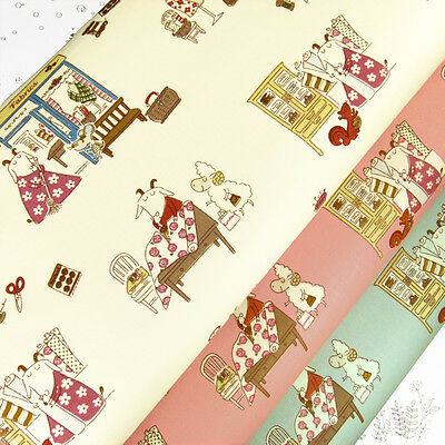 Cotton Fabric per FQ Linen Look Goat Mom Sheep Mouse Squirrel Animal Cartoon VM4