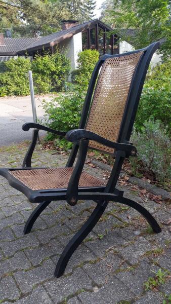 100% QualitäT Lehnstuhl Klappstuhl Antik Holz Schwarz Geflecht : Lehne- Und Sitz, Design Taille Und Sehnen StäRken