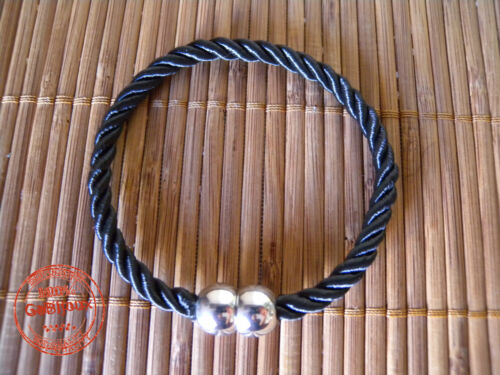 Bracciale UOMO DONNA Classico Treccia Corda Marinaio Nero con Chiusura Magnetica