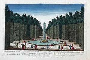 Kupferstich-um-1730-Guckkastenblatt-Fontaine-de-Ceres-Jardin-de-Versailles