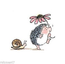 New Penny Black Hobble & Cuddle Wood Rubber Stamp Hedgehog Flower Snail Friends