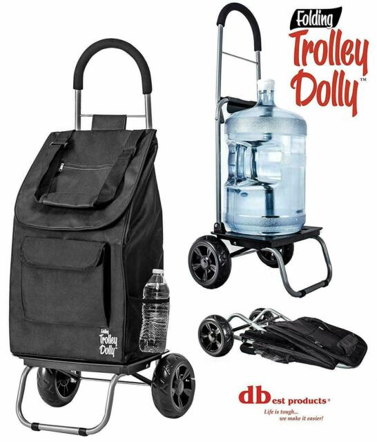 Dbest Products Trolley Dolly Black Ping Grocery Foldable Cart