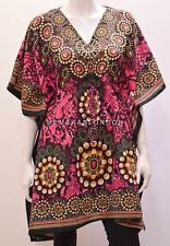 PLUS SIZE HIPPIE RETRO FLOWER WHEEL SNAKE SKIN PRINT SHORT KAFTAN PINK