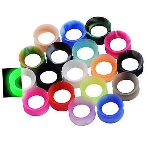 Pair-Thin-Silicone-Ear-Skin-Ear-Tunnels-Plugs-Gauges-Earskin-Earlets-Flesh-Gauge