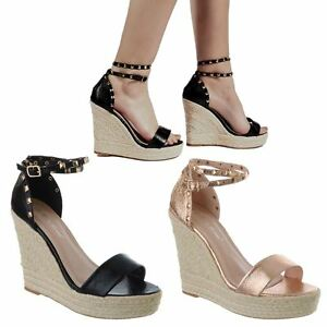 f6cb6553780c Image is loading LADIES-WOMENS-HIGH-HEEL-WEDGE-ESPADRILLES-STUDDED-ANKLE-