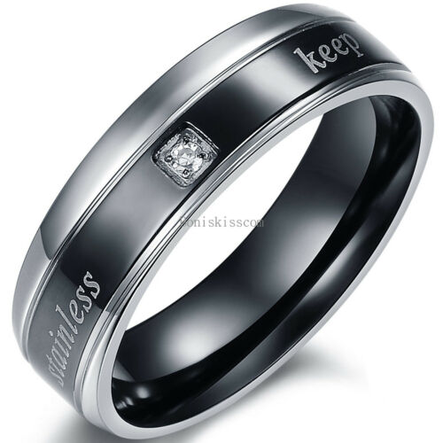 """His Hers /"""" Keep Your Heart /"""" Stainless Steel Engagement Band Wedding Ring"""