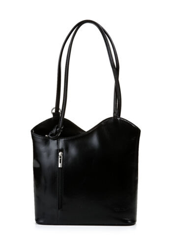 Made in Italy Bnwt Noir en Cuir Véritable Sac à main Sac à dos Cartable Hobo Sac