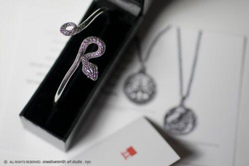 L/'OEA solide Argent sterling réglable Serpent Cuff Bracelet
