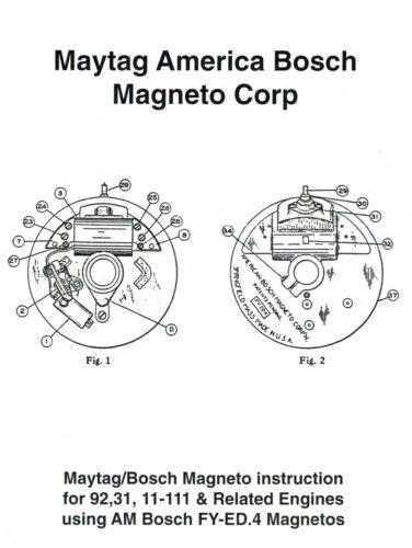 Maytag America Bosch Magneto Instruction Book Gas Engine Hit Miss 92 31 Motor