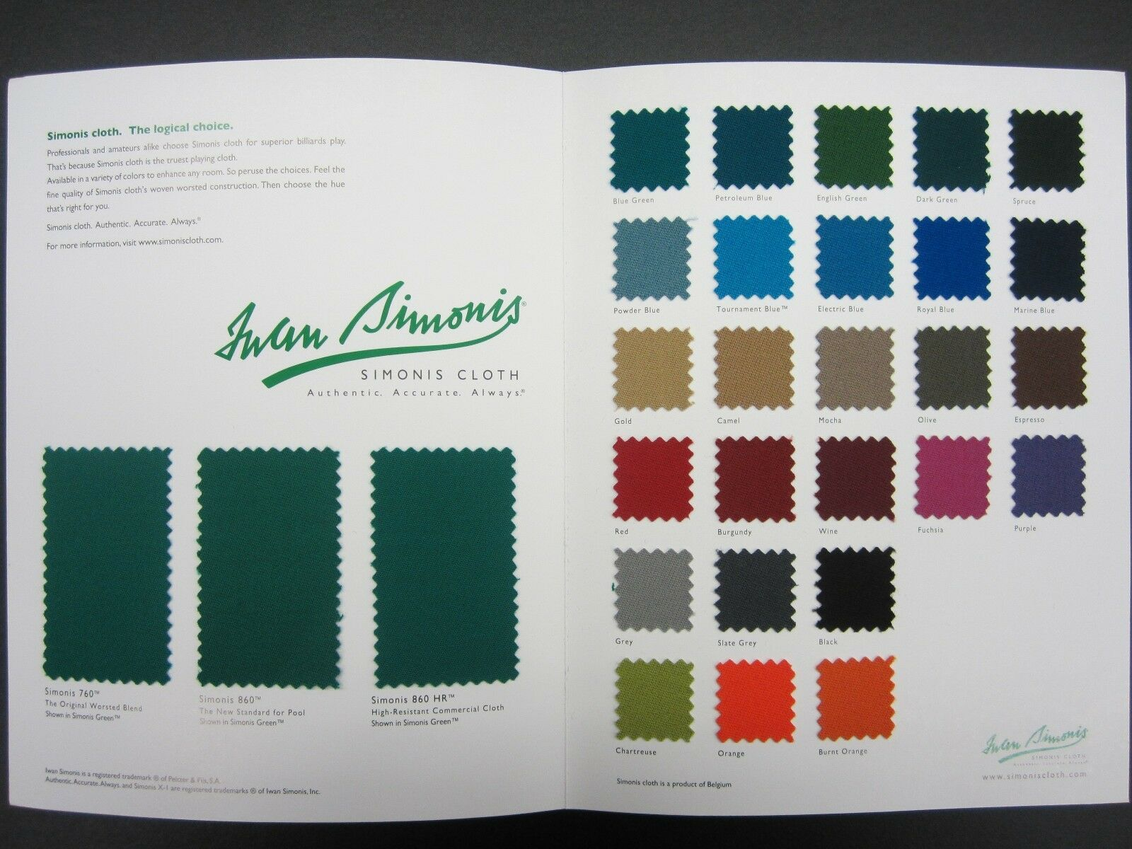 Simonis 760 7'Pooltable Felt Kleidung Wählen Sie Ihre Farbe