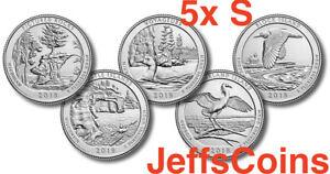 All-2018-S-Set-5-x-Park-Quarters-US-Mint-ATB-Uncirculated-Picture-Block-Island