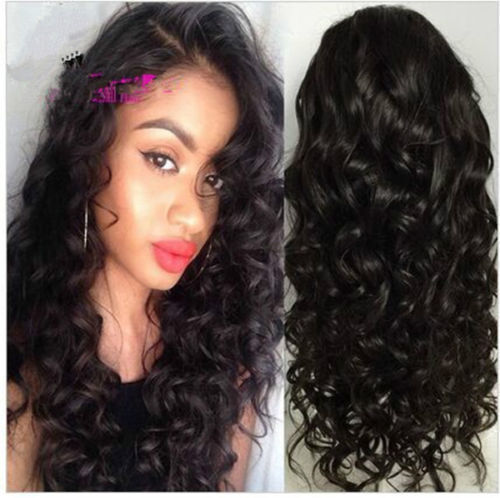 Glueless Brazilian 100 Human Hair body curly Lace Front Wig Full Lace Wigs