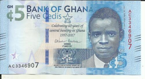 5RW 26ABRL 60TH GHANA 5 CEDIS 2017 P NEW DESIGN COMM UNC CONDITION