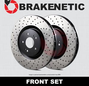BRAKENETIC PREMIUM Cross DRILLED Brake Disc Rotors 4WD BNP65012.CD FRONT SET