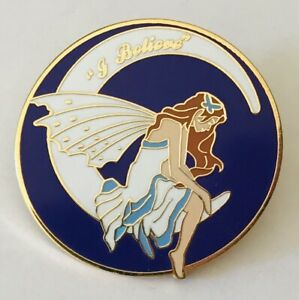 I-Believe-In-Fairies-Fairy-On-The-Moon-Beautiful-Pin-Badge-Brooch-Vintage-A9