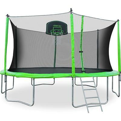 Merax 12-Feet Round Trampoline with Safety Enclosure Basketball Hoop and Ladder