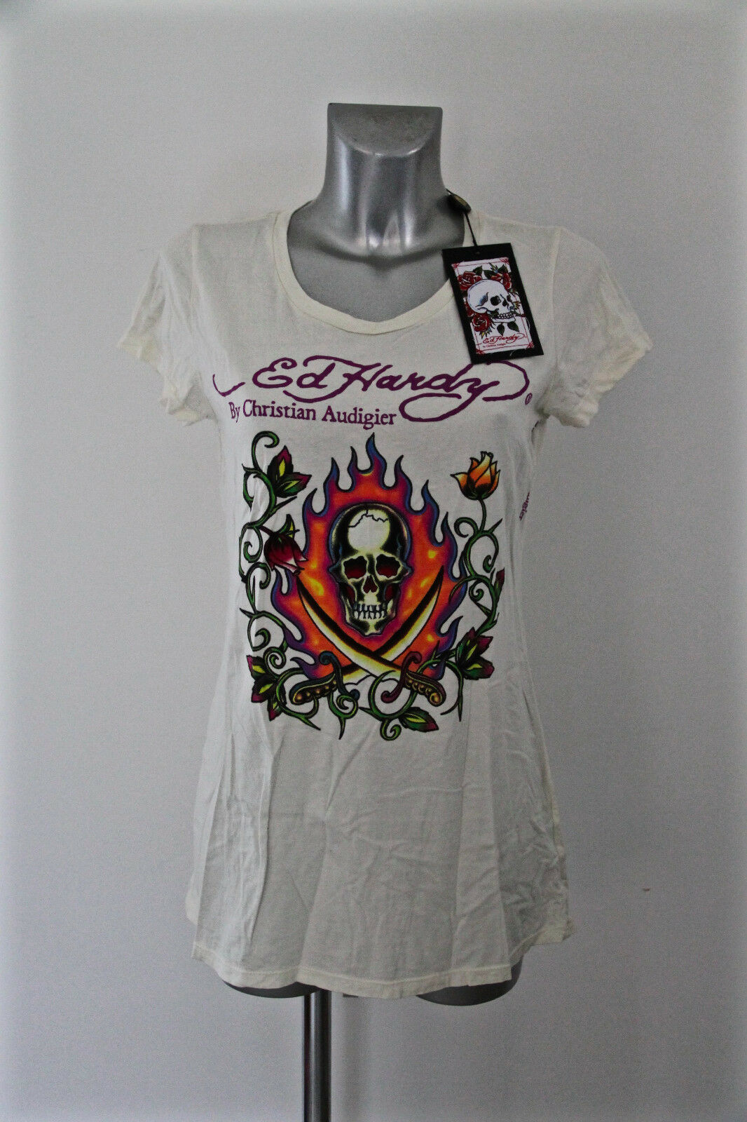 T-shirt damen crew neck ED HARDY audigier Größe L NEW LABEL