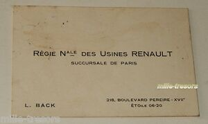 Ancienne CARTE De VISITE Regie Nationale Des USINES
