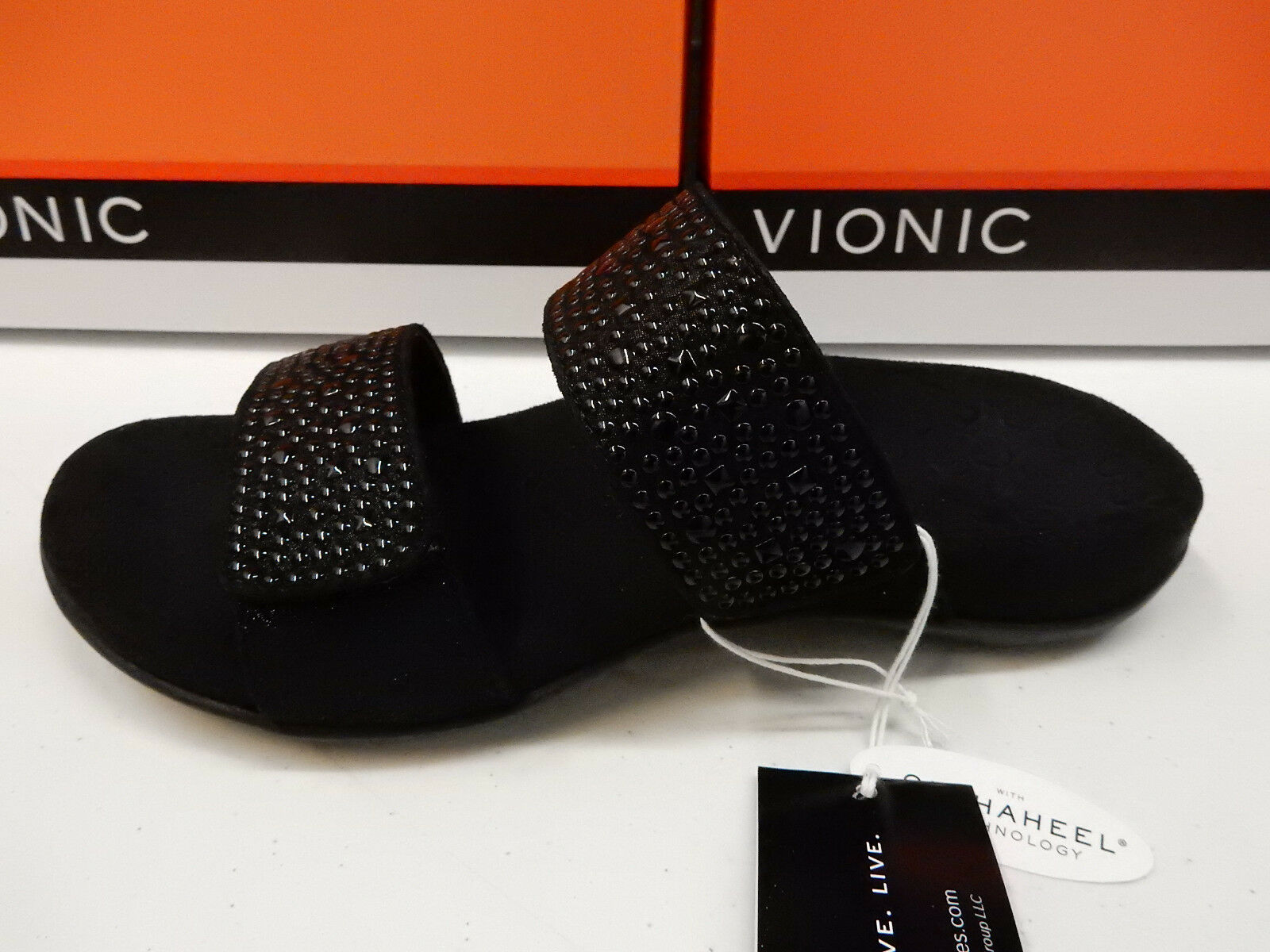 VIONIC WOMENS SANDALS SAMOA BLACK SIZE 10 WIDE