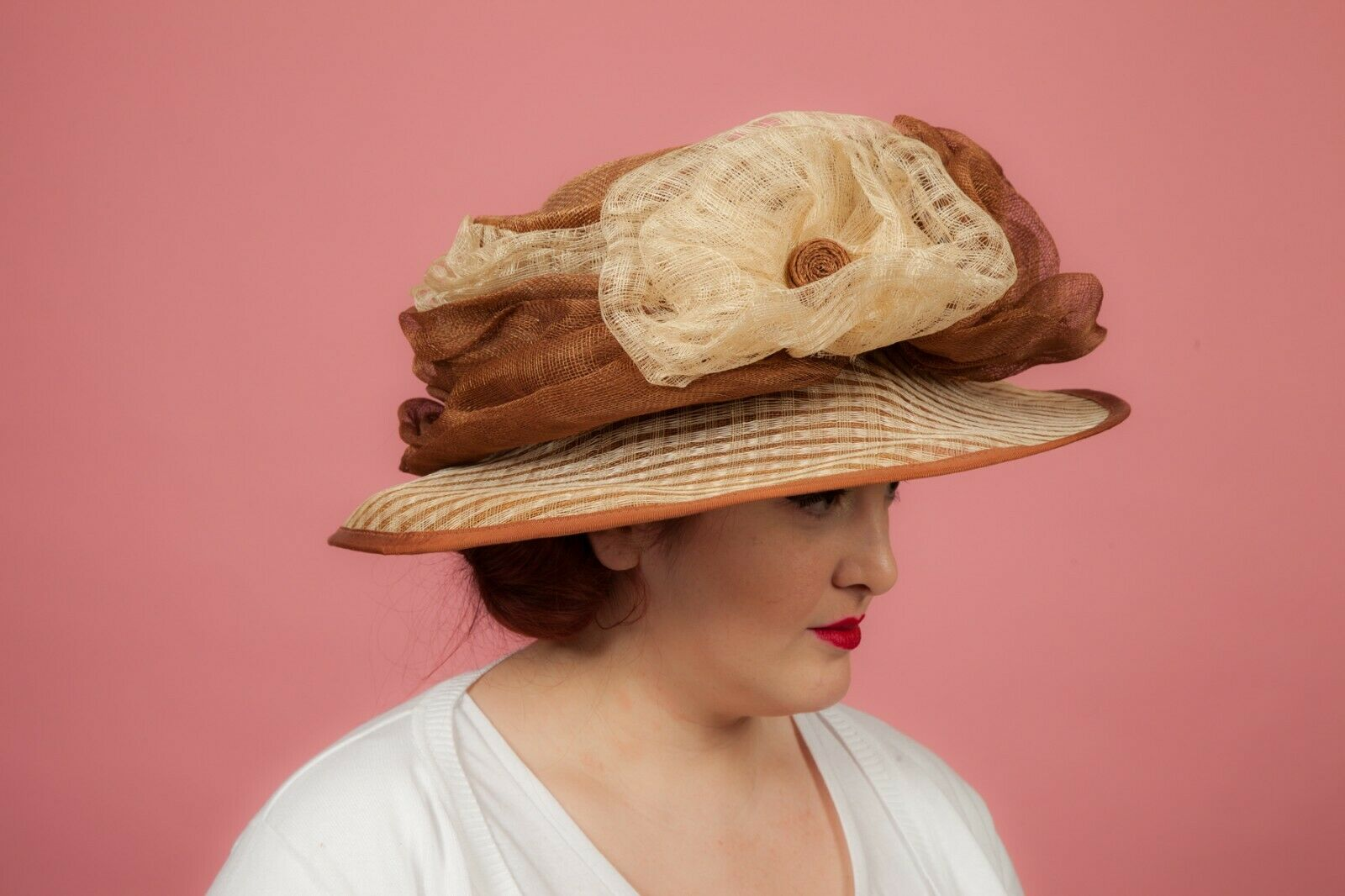 Oversized brown and cream ruffled flower formal hat by Victoria Anne