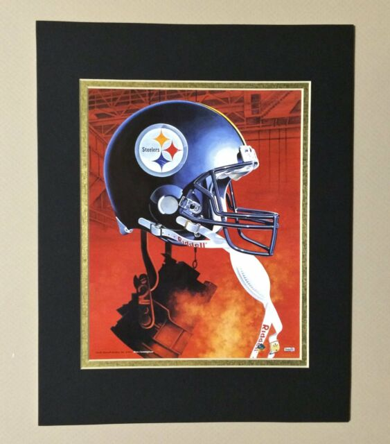 Pittsburgh Steelers 1995 Matted Football Helmet Lithograph Print