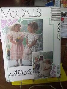 Oop-Alicyn-Mccalls-5827-girls-dress-ruffles-lace-puff-sleeves-sz-4-NEW