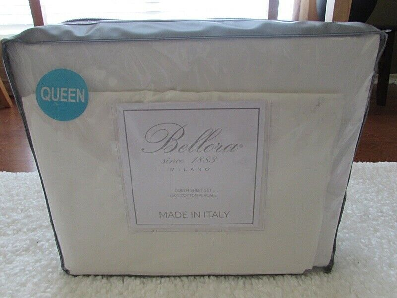 BELLORA ivory QUEEN flat sheed pillow cases SET MADE IN ITALY 100% cotton