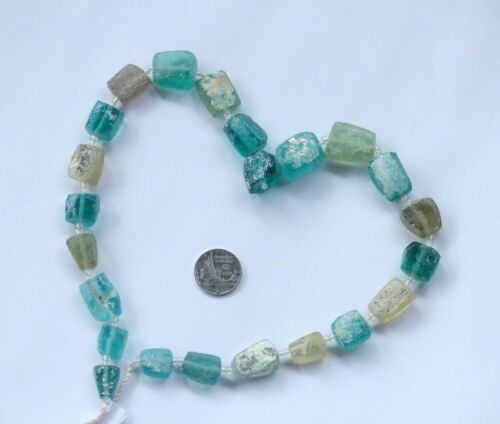 الزجاج الروماني  18 Ancient Roman Glass Old Square Beads Strand Necklace Random