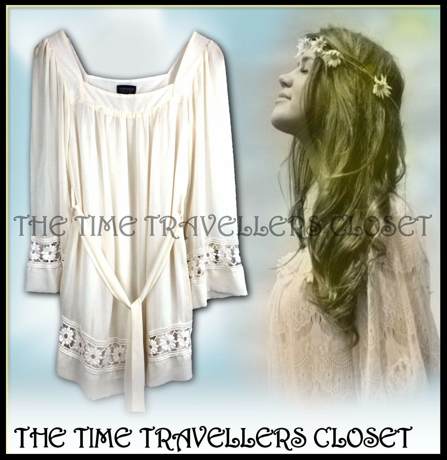 Topshop Cream Boho Hippy 60s Floral Crochet Lace Lined Dress Tunic Top