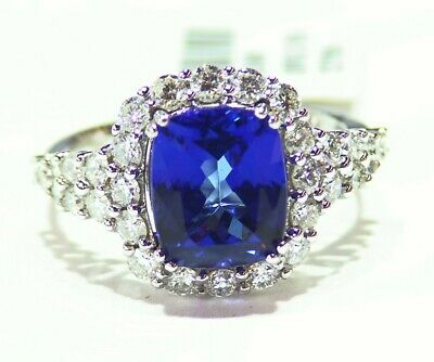 3.30Ct Solid 14KT White Gold Natural Blue Tanzanite Oval Shape Solitaire Ring