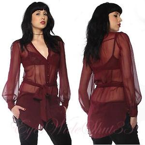 Glamour Chemisier 100 Lip Service Bordeaux Soie Long Tunique Sexy Transparent fTx4OAf