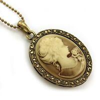 Vtg Antique St Brown Designer Cameo Necklace Pendant 3b