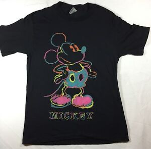 7c5f7ecc0 Mickey Mouse Neon T-Shirt Black S Disney 50/50 Made In USA Vintage ...