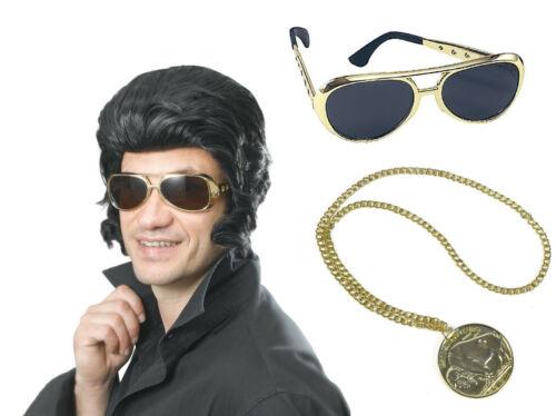 Elvis Wig w// Sideburns 50/'s MUSIC KING Set Pop King Silver Shades /& Medallion