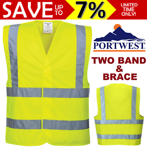 NEW-Portwest-Hi-Vis-Yellow-Two-Band-amp-Brace-Vest-High-Visibility-Compliant-Work