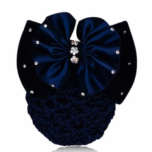 New Women Bow Hairnet Barrette Hair Net Bowknot Bun Snood Accessory Professional