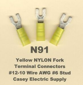50 Non-Insulated FLANGED Fork Spade Terminal Connector #12-10 Wire Gauge 10 Stud