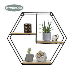 Black-Metal-Wood-Wall-Mounted-Floating-Shelf-Wire-Display-Storage-Rack-Hexagon