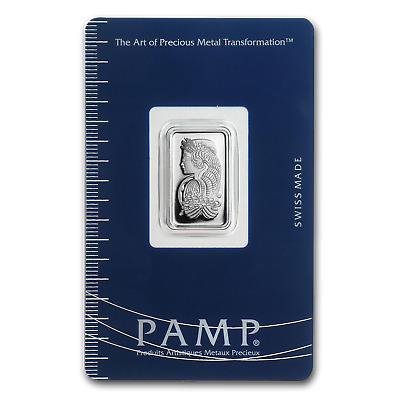 - SKU #36285 5 gram Silver Bar PAMP Suisse Fortuna, In Assay