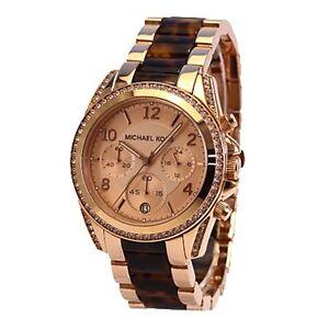 534dba867377 NWT Michael Kors Women Watch BLAIR Rose Gold Tortoise Glitz Bracelet ...