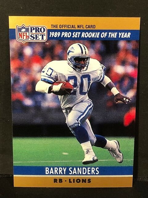 Barry Sanders 1990 Pro Set Lot Of 2 Roy Blank Back Error Card 1 Lions Sp