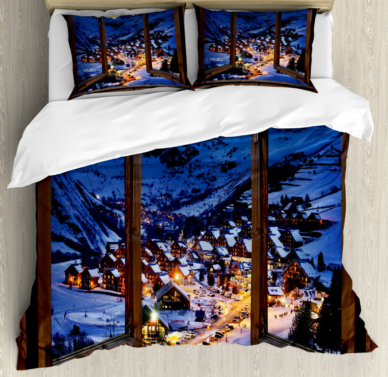 Landscape Duvet Cover Set with Pillow Shams Winter Season Town Print