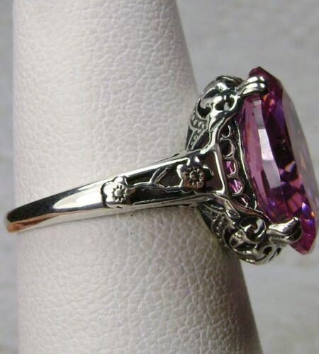 Made To Order Pink CZ Sterling Silver Ring// 5ct Gem Edwardian Floral Filigree