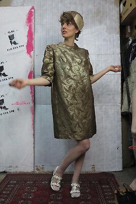 Abito Festa Vestito Ricami Donna Vestito Oro Braun 60er Truevintage 60s Glitter Dress-mostra Il Titolo Originale Scelta Materiali