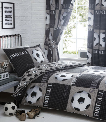 Football Soccer Shoot Kids Boys Duvet Quilt Cover Bedding Set Black Silver Grey