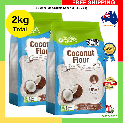Absolute Organic Coconut Flour For Baking Cooking Protein 2 X 1kg Total 2kg New Ebay