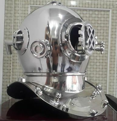 "Other Maritime Antiques Antiques Boston Chrome 18"" Inch Diving Helmet Us Navy Mark Iv Deep Scuba Divers Helmet Pure And Mild Flavor"